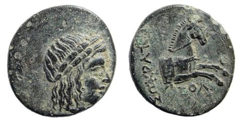 Ancient Coins - Ionia, Kolophon. 330-285 BC. AE 15mm (2.14 gm). Socrates magistrate. SNG Copenhagen 157