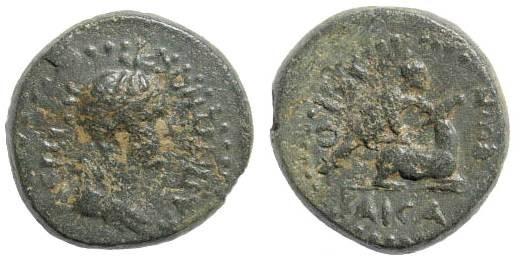 Ancient Coins - Lydia, Hierocaesarea. Nero 54-68 AD. AE 16mm (2.67 gm). 54-59 AD. RPC I, 2391. Rare