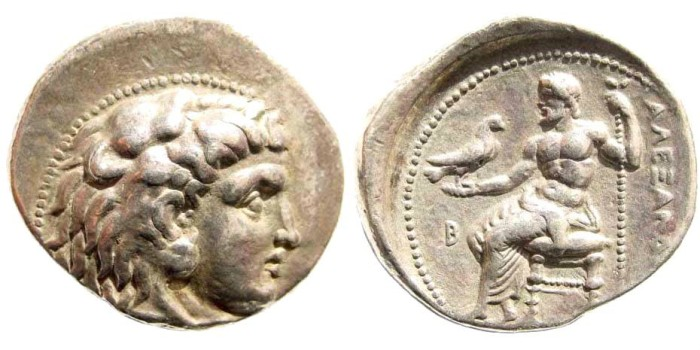 Ancient Coins - Macedonian Kings. Alexander III 'the Great'. 336-323 BC. AR Tetradrachm (16.47 gm, 28mm). Berytus mint, 323-320 BC. Price 3412. Rare. Earliest issued coinage from Berytus