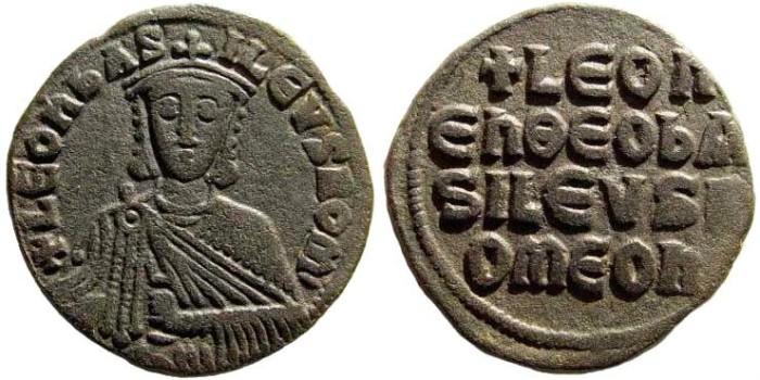 Ancient Coins - Leo VI, 886-912 AD. AE Follis (7.01 gm, 25mm). Constantinople mint. Sear 1729