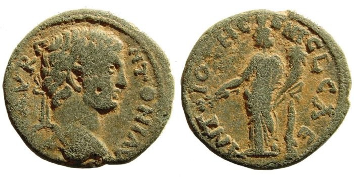 Ancient Coins - Pisidia, Antioch. Caracalla, 198-217 AD. AE 23mm (5.37 gm). SNG France 3, 1176 (same obverse die)
