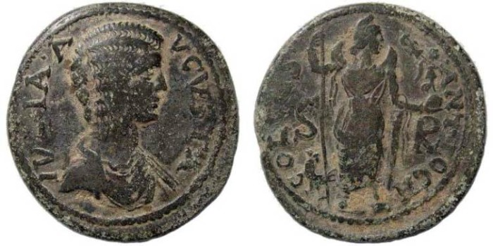Ancient Coins - Pisidia, Antioch. Julia Domna, wife of Septimius Severus 193-211 AD. AE 34 (22.61 gm). SNG BN 1161
