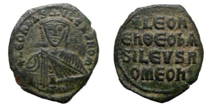 Ancient Coins - Leo VI, 886-912 AD, AE Follis (7.39 gm, 28.1 mm). Constantinople mint. Sear 1729; DO 8