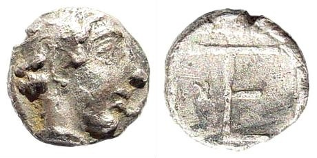 Ancient Coins - Ionia, Kolophon. Late 5th century BC. AR Tritemorion (0.30 gm, 7mm). Astralagos