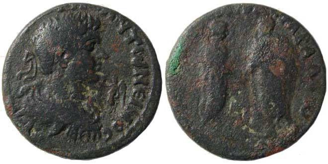 Ancient Coins - Cilicia, Hierapolis-Kastabala. Caracalla, 198-217 AD. AE 29 mm (13.10 gm). 198/211 AD. SNG France 2240 (same dies); Howgego 269 (for countermark)