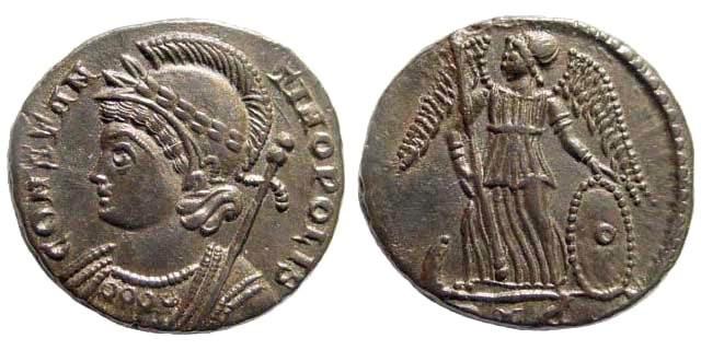 Ancient Coins - Constantinopolis, 333-334 AD. AE Follis (2.67 gm, 17mm). Lyon mint. RIC VII 273