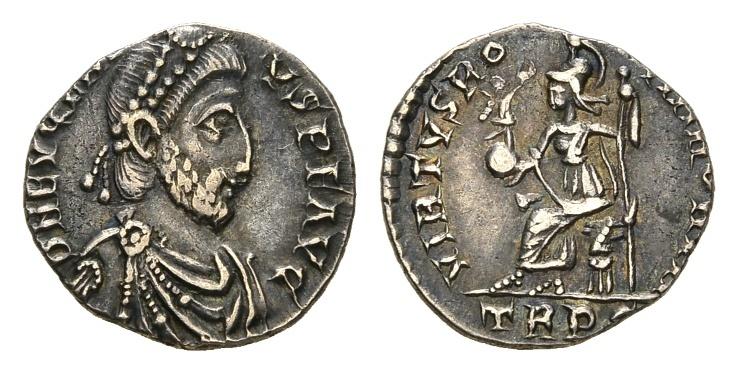 Ancient Coins - Eugenius. 392-394 AD. AR Siliqua (1.56 gm, 16mm). Treveri (Trier) mint. RIC IX 106d