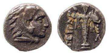 Ancient Coins - Mysia, Pergamon, early third cent BC, AR Diobol (1.21 gm.). SNG Kayan 64
