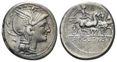 Ancient Coins - Appius Claudius Pulcher, T. Manlius Mancius, and Q. Urbinius. 111-110 BC. AR Denarius (3.91 gm, 18mm). Rome mint. Crawford 299/1a var