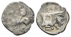 Ancient Coins - Sicily, Gela. Circa 430-425 BC. AR Litra (0.65 gm, 13mm). SNG ANS 82
