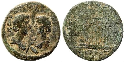 Ancient Coins - Cilicia, Tarsos, Commodus and Annius Verus sons of Marcus Aurelius, AE 17mm (3.58 gm). SNG Levante 1018; SNG France 1457