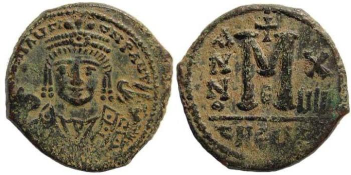 Ancient Coins - Maurice Tiberius, 582-602 AD, AE Follis (11.21 gm.). Antioch, officina X / uIII. Sear 533; MIB 96c
