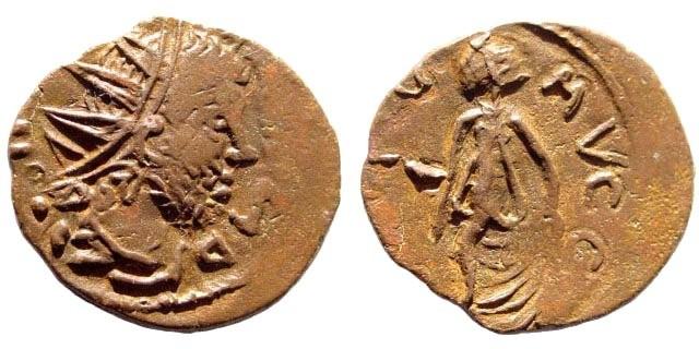 "Ancient Coins - Tetricus I, 270-273 AD. AE ""Barbarous imitation"" Antoninianus (1.9 gm, 17mm). Spes"