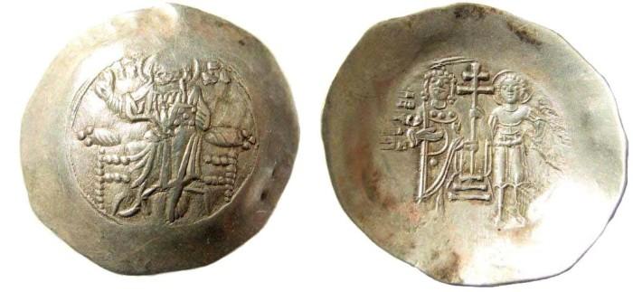 Ancient Coins - John II, Comnenus, 1118-1143 AD. Electum Aspron Trachy (4.26 gm, 33mm). Constantinople mint. DO 8c; S 1942