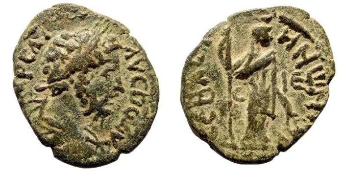 Ancient Coins - Judaea, Sebaste. Commodus, 177-192 AD. AE 27mm (7.19 gm). Dated CY 215, 190/1 AD. Rosenberger 13; SNG ANS 1075