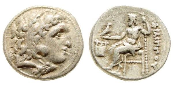 Ancient Coins - Macedonian Kingdom. Philip III Arrhidaios. 323-317 BC. AR Drachm (4.37 gm, 18mm). Colophon mint. Price P43