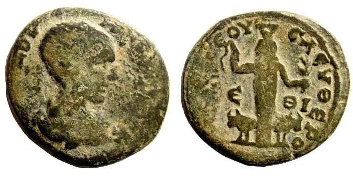 Ancient Coins - Judaea, Eleutheropolis. Diadumenian, 217-218 AD. AE 23mm (8.41 gm). Dated CY 19, 217/18 AD.