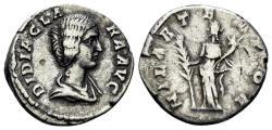 Ancient Coins - Didia Clara. Augusta, 193 AD. AR Denarius (2.98 gm, 18mm). Rome mint. Struck under Didius Julianus. RIC IV 10