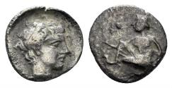 Ancient Coins - Kilikia, Tarsos. Circa 370 BC. AR Obol (0.52 gm, 8.5mm). SNG Levante 65