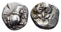 Ancient Coins - Asia Minor. Uncertain. Circa 460-400 BC. AR Diobol (1.12 gm). Cf. AsiaMinorCoins Online #12761 (Methymna?)