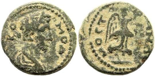 Ancient Coins - Lydia, Mostene. Commodus, 177-192 AD. AE 17mm (3.29 gm). BMC 14