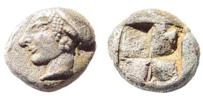 Ancient Coins - Ionia, Phokaia. Late sixth century BC. AR Phokaic standard Hemihekta (1.27 gm, 10mm). SNG Kayan 522