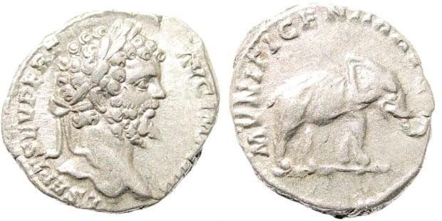 Ancient Coins - Septimius Severus, 193-211 AD. AR Denarius (2.91 gm, 18mm). Rome, struck 196/7 AD. BMC 168; Cohen 348; RIC 82