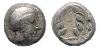 Ancient Coins - Aiolis, Elaia, ca. 350-320 BC, AR (0.90 gm.). SNG Kayan 80