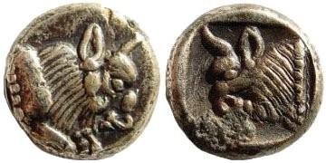 Ancient Coins - Caria, uncertain mint, early 4th century BC. Plated AR/AE Hemidrachm (1.74 gm, 11mm). Rosen -; SNG Helsinki I -; SNG Turkey I -