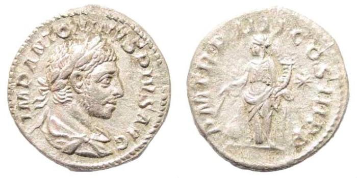 Ancient Coins - Elagabalus, 218-222 AD. AR Denarius (2.71 gm, 18mm). Rome mint. Struck 220-221 AD. RIC IV 31