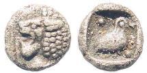 Ancient Coins - Ionia or Caria, uncertain mint. Miletus (?). 420-390 BC. AR Tetartemorion (0.16 gm, 5.5mm). SNG Tuebingen 3006 (Miletos)