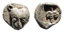 Ancient Coins - Thraco-Macedonian Region, Uncertain. 5th century BC. AR Hemiobol (0.24 gm, 6mm). Tzamalis 56