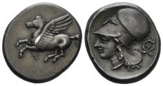 Ancient Coins - Corinthia, Corinth. Circa 375-300 BC. AR Stater (8.61 gm, 21mm). Ravel 1069; Pegasi 386; BCD Corinth 128