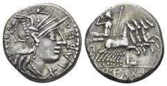 Ancient Coins - Q. Fabius Labeo. 124 BC. AR Denarius (3.93 gm, 17mm). Rome mint. Crawford 273/1