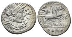 Ancient Coins - Q. Curtius and M. Sergius Silus. 116-115 BC. AR Denarius (3.91 gm, 19mm). Rome mint. Crawford 285/2