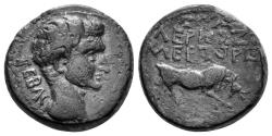 Ancient Coins - Phrygia, Eumenia. Tiberius (?). 14-37 AD. AE 17mm (5.05 gm). Valerios Zmertorix magistrate. RPC I, 3144