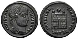 Ancient Coins - Constantine I. 307/310-337 AD. AE Nummus (3.31 gm, 20mm). Thessalonica, 326-328 AD. RIC VII 153