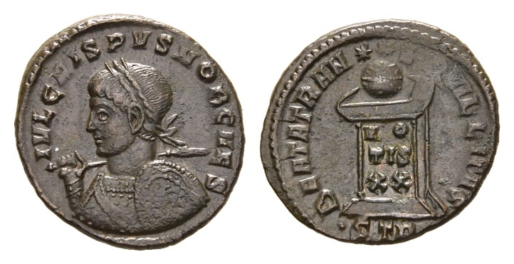 Ancient Coins - Crispus. Caesar, 316-326 AD. AE Follis (3.26 gm, 19mm). Treveri (Trier) mint, 2nd officina. Struck 322-323 AD. RIC VII 372