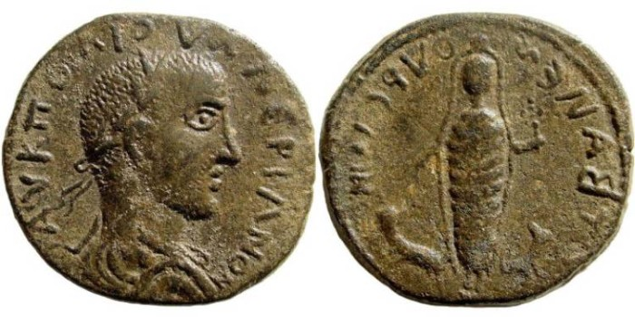 Ancient Coins - Cilicia, Anemurium. Valerian I. 253-260 AD. AE 29mm (11.61 gm). Dated year 2 (254/5 AD). SNG Levante 513 (same obverse die). Interesting with unpublished retrograde reverse legend!