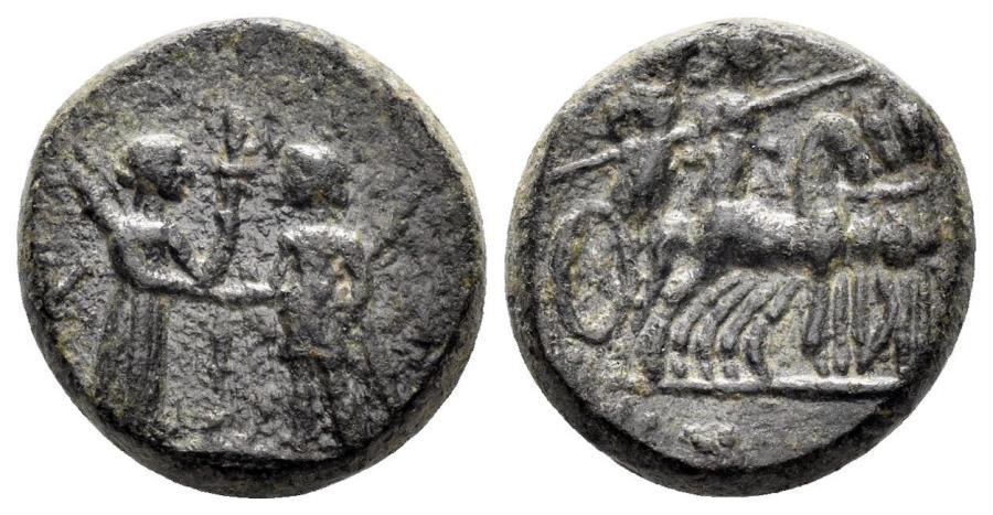 Ancient Coins - Aiolis, Kyme. After 190 BC. AE 14mm (4.11 gm). SNG Copenhagen 113-114