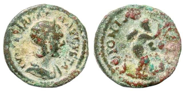 Ancient Coins - Arabia, Bostra. Julia Mamaea, mother of Alexander Severus, 222-235 AD. AE Cast 19mm (4.09 gm.). SNG ANS 1241