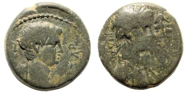 Ancient Coins - Lydia, Philadelphia (Neocasarea). Gaius Caligula, 37-41 AD. AE 17mm (4.15 gm). Melanthos, priest of Germanicus. RPC I, 3018. Rare
