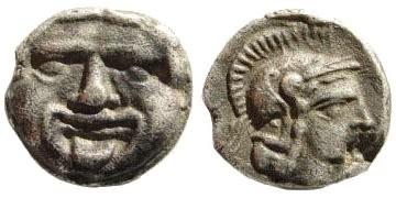 Ancient Coins - Pisidia, Selge. Circa 350-300 BC. AR Obol (0.91 g, 10mm). SNG France 1954 var (astragalos)