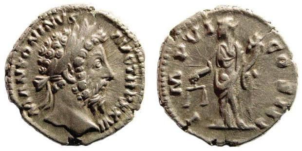 Ancient Coins - Marcus Aurelius. 161-180 AD. AR Denarius (3.72 gm, 19mm). Struck 168 AD. RIC 252