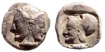 Ancient Coins - Mysia, Lampsakos. Circa 500-450 BC. AR Diobol (1.16 gm, 11mm). Rosen 524; SNG Copenhagen 189