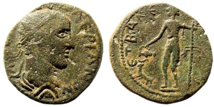 Ancient Coins - Kilikia, Anemourion. Valerian, 253-260 AD. AE 24mm (7.43 gm). Dated year 2 (254/5 AD). Ziegler 220-2; SNG BN Paris 720