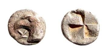 Ancient Coins - Aeolis, Kyme. Circa 450-400 BC. AR Hemiobol (0.20 gm, 7mm). Cf. SNG Kayhan 84-9