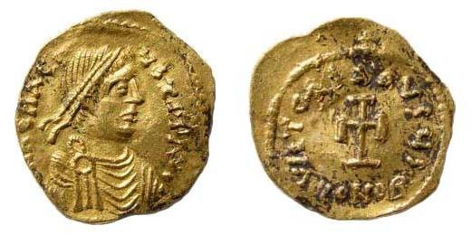 Ancient Coins - Heraclius, 610-641 AD, AV Tremissis (1.09 gm.). Constantinople mint. Struck 610-613