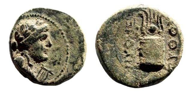 Ancient Coins - Phrygia, Laodikeia. Time of Tiberius (?), 14-37 AD. AE 15mm (2.80 gm). Pythes Pythou. RPC 2903