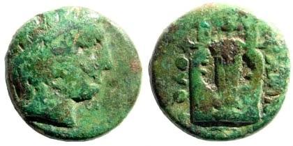 Ancient Coins - Ionia, Kolophon. Circa 350-330 BC. AE 11mm (1.19 gm). SNG Copenhagen-; SNG von Aulock-; SNG Helsinki II-; Klein -